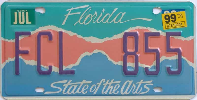 1999 Florida license plate for sale