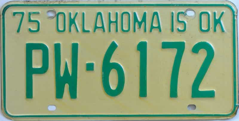 1975 Oklahoma license plate for sale