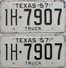 1957 Texas (Truck) license plate for sale