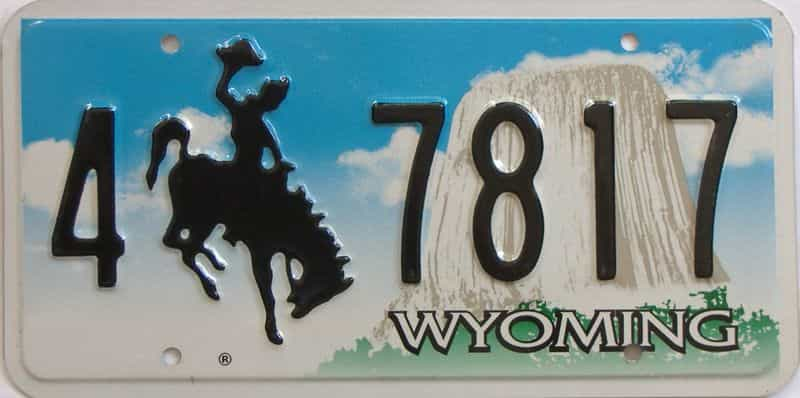 Wyoming license plate for sale