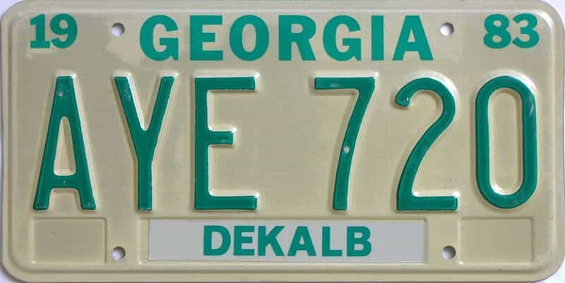 YOM 1983 Georgia YOM 1971 - 1989 license plate for sale