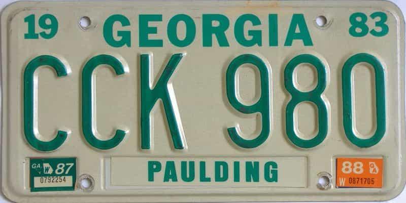 YOM 1988 Georgia license plate for sale