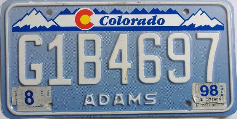 1998 Colorado  (Single) license plate for sale