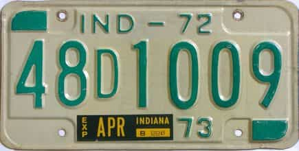 1973 Indiana license plate for sale