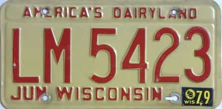 1979 Wisconsin (Single) license plate for sale