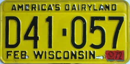 1972 Wisconsin (Single) license plate for sale