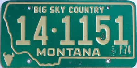 1974 Montana (Single) license plate for sale