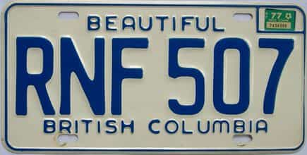 1977 British Columbia (Single) license plate for sale