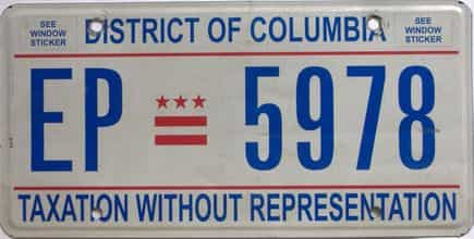 District Of Columbia (Single) license plate for sale