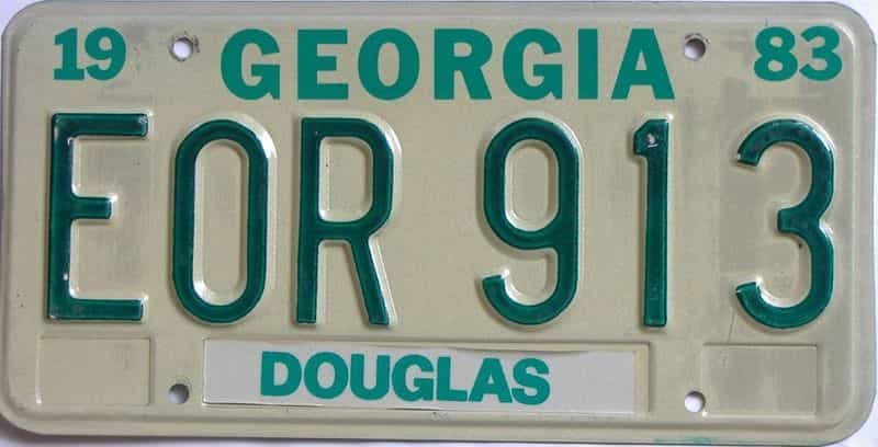 YOM 1983 Georgia license plate for sale