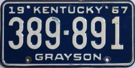 1967 Kentucky license plate for sale