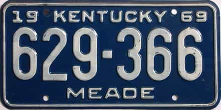 1969 Kentucky license plate for sale