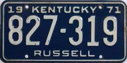 1971 Kentucky license plate for sale