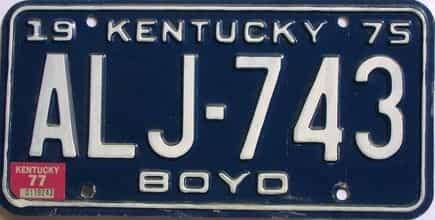 1977 Kentucky license plate for sale