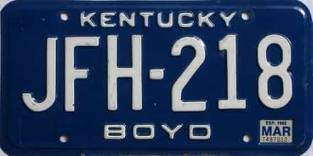 1985 Kentucky license plate for sale