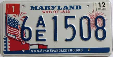 2012 Maryland (Natural Single) license plate for sale