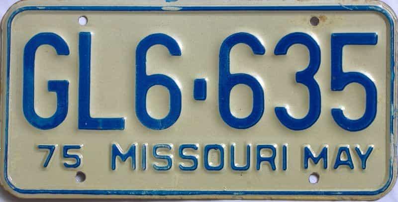 1975 Missouri  (Single) license plate for sale