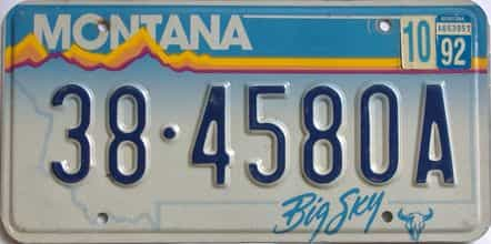 1992 Montana (Single) license plate for sale