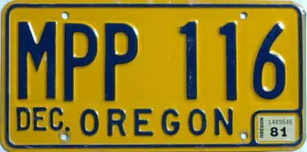 1981 Oregon (Natural Single) license plate for sale