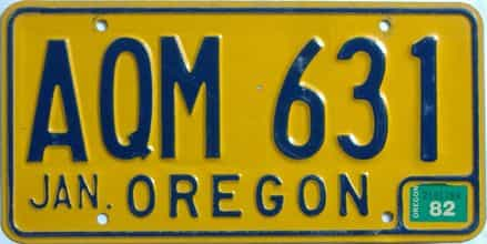 1982 Oregon (Natural Single) license plate for sale