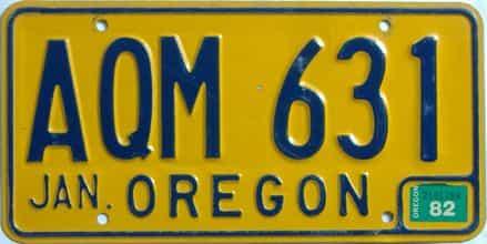 1982 Oregon  (Natural Single) license plate for sale