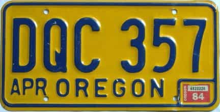 1984 Oregon (Natural Single) license plate for sale