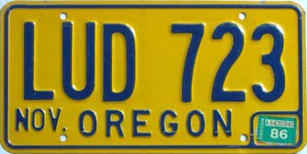 1986 Oregon (Single) license plate for sale