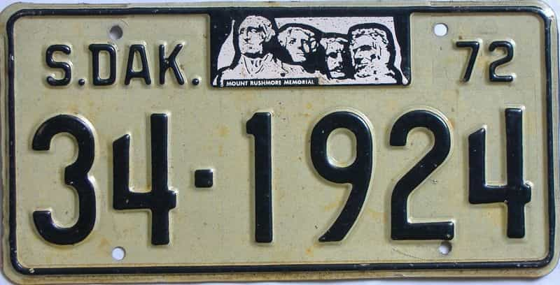 1972 South Dakota  (Single) license plate for sale
