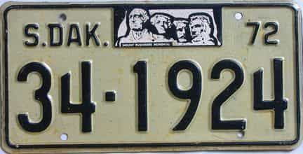 1972 South Dakota  (Single) license plate for sale