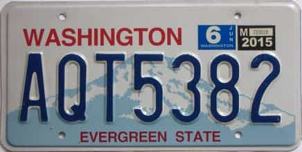 2015 Washington (Natural Single) license plate for sale