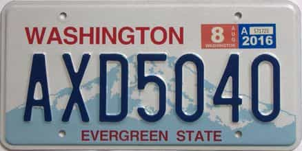 2016 Washington (Natural Single) license plate for sale