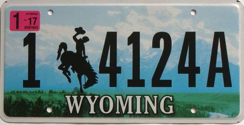 2017 Wyoming  (Single) license plate for sale