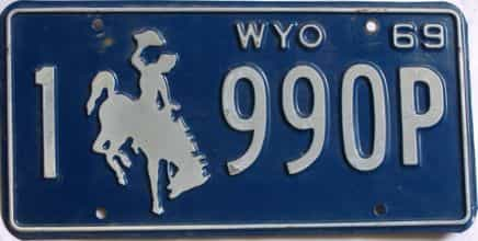 1969 Wyoming (Single) license plate for sale