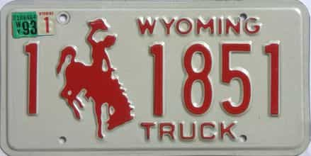 1993 Wyoming (Truck) license plate for sale