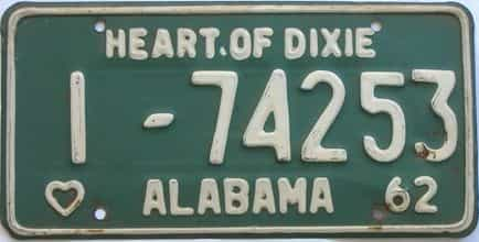 1962 Alabama (Single) license plate for sale