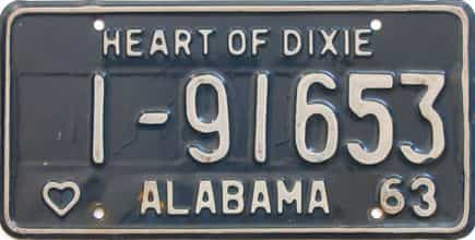 1963 Alabama license plate for sale