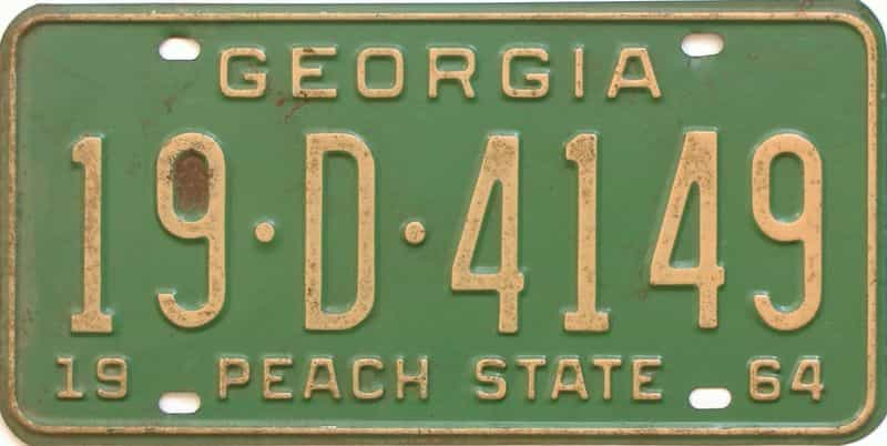 YOM 1964 Georgia (Houston) license plate for sale