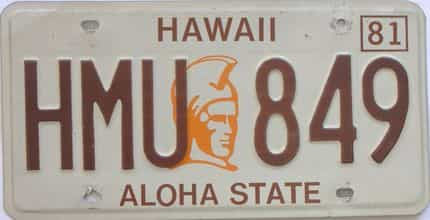 1981 Hawaii (Single) license plate for sale