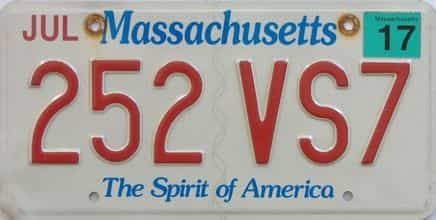 2017 Massachusetts (Single) license plate for sale