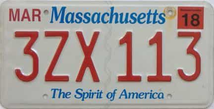 2018 Massachusetts (Natural Single) license plate for sale