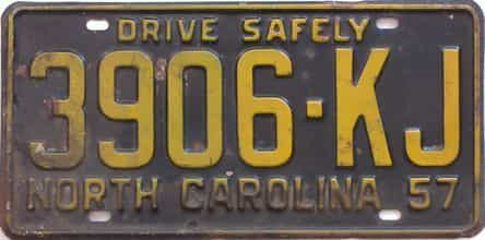 1957 North Carolina (Truck) license plate for sale