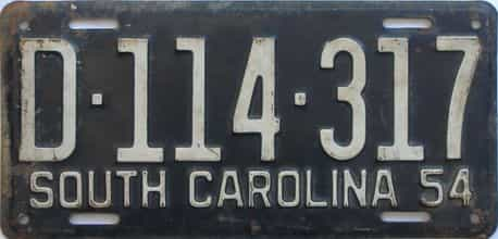 1954 South Carolina (Single) license plate for sale