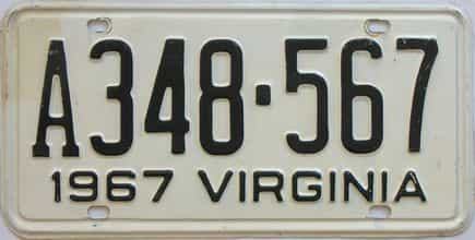 1967 Virginia (Single) license plate for sale