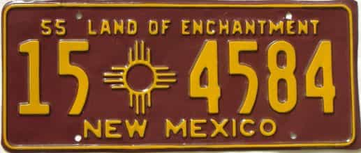 1955 New Mexico (Older Repaint) license plate for sale