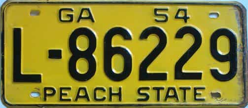 YOM 1954 Georgia license plate for sale