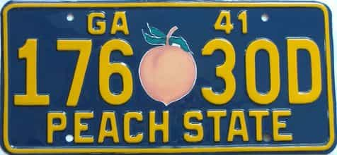 YOM RESTORED 1941 Georgia (Single) license plate for sale