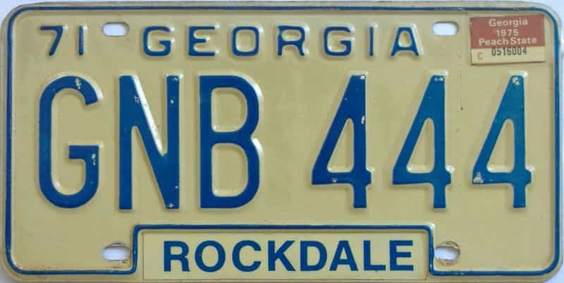 YOM 1975 Georgia  (Natural) license plate for sale