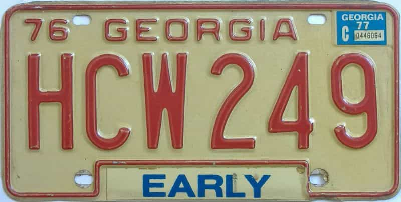 YOM 1977 Georgia license plate for sale