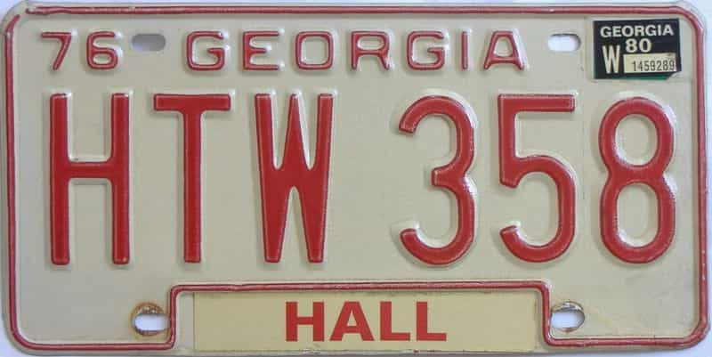 YOM 1980 Georgia YOM 1971 - 1989 license plate for sale