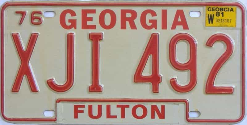 YOM 1981 Georgia  (Natural) license plate for sale